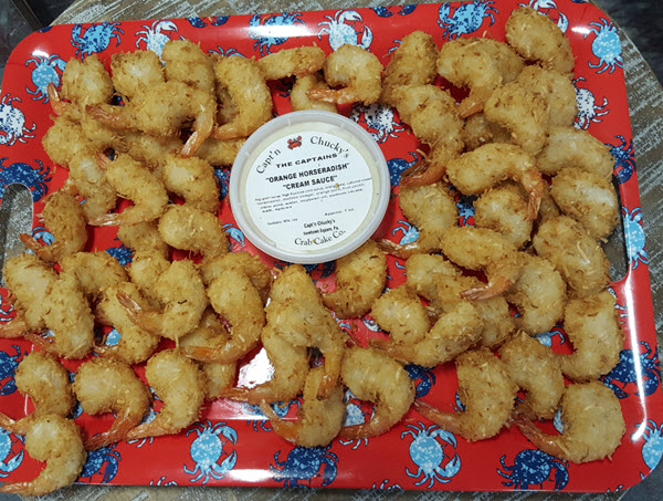 coconut shrimp with orange horseradish cream sauce