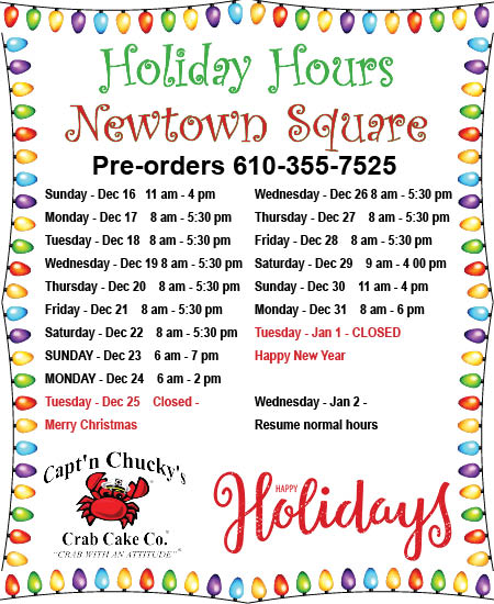 holiday hours 2018 Newtown Square