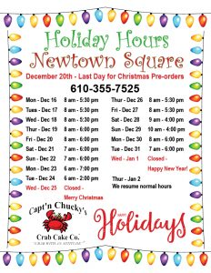 holiday hours 2019 Newtown Square