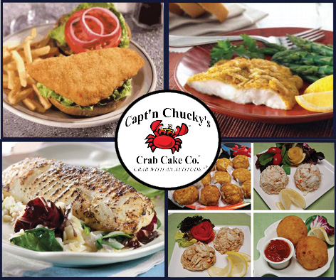Captn Chuckys fish selections new w crab cake